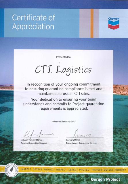 Chevron Certificate of Appreciation